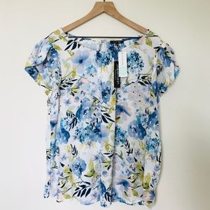 NEW Stitchfix Papermoon Blue Floral Blouse 2XL